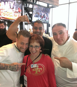 Deborah with Chefs Jose Andres-Michael Mina at SF Niners Levi's Stadium